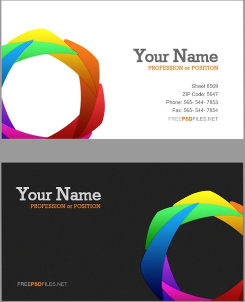 free psd business cards delicate color wheel business card
