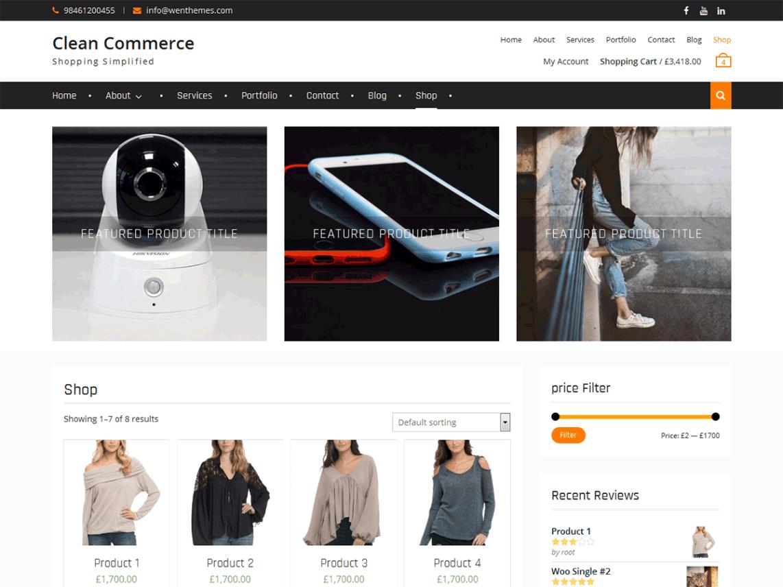 free wordpress theme clean commerce
